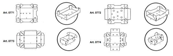 Vassoi e plateaux fustellati preincollati - scatole GIFCO