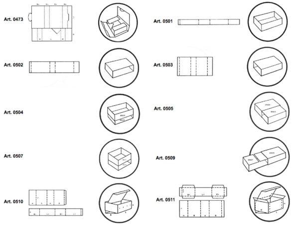 Fasce perimetrali e scatole fustellate a cassetto