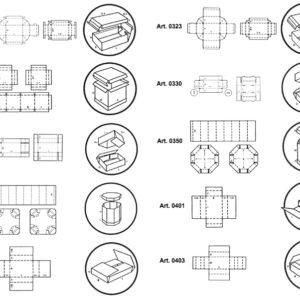 Scatole fustellate fondo coperchio octa-bin e scatole a croce