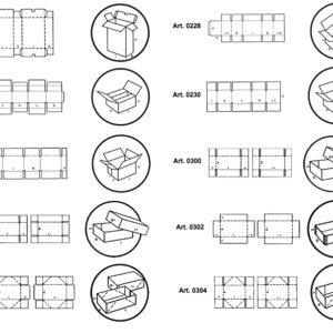 Scatole fustellate di tipo americano con separatori interni fustellati e scatole fondo/coperchio